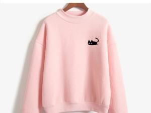 Black Cat Design Women's Long Sleeved Mock TurtleNeck Sweatshirt