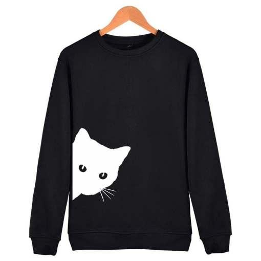Black Cat Design Women's Cotton Hipster Sweatshirt at The Great Cat Store