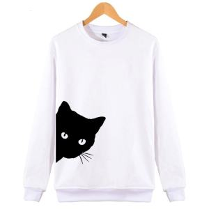 Black Cat Design Women's Cotton Hipster Sweatshirt