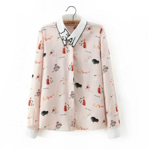 Musical Cat Embroidered Collar Long Sleeved Blouse at The Great Cat Store