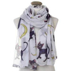 Black Cat and Moon Large Scarf Shawl