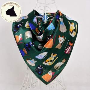 Cat Design Women's Square Silk Scarf