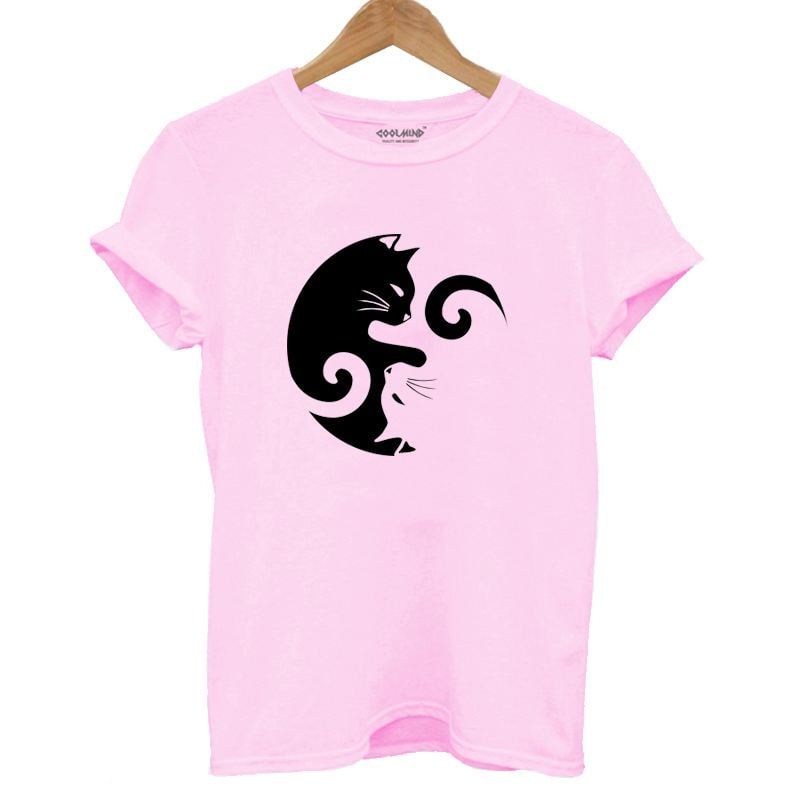 Yin Yang Cat Design 100% Cotton T-Shirt