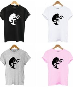 Women's Yin Yang Cat Design 100% Cotton T-Shirt at The Great Cat Store