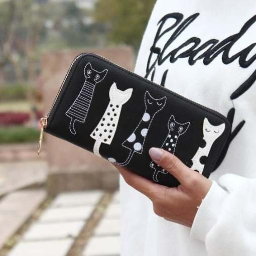 Luxury Cat Design Long Wallet Black at the Great Cat Store