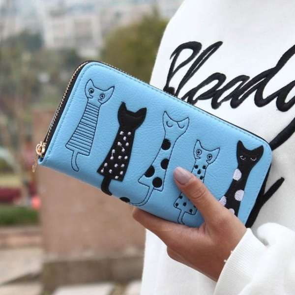 Luxury Cat Design Long Wallet Blue