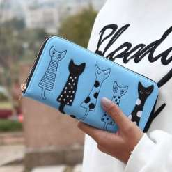 Luxury Cat Design Long Wallet Blue at The Great Cat Store