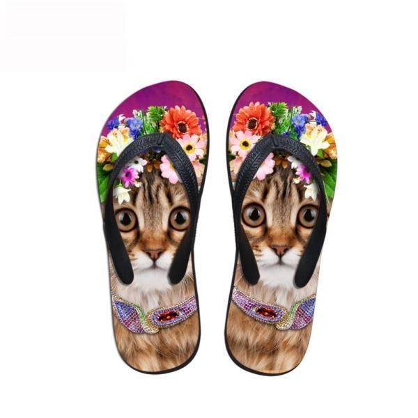 Cute Cat Design Flip Flops