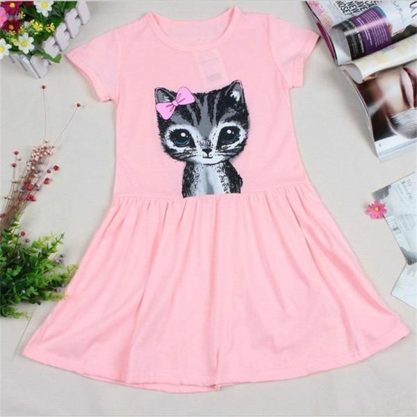 Cute Cat Design Girl's Dress 1