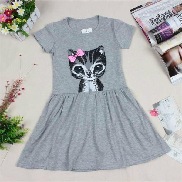 Cute Cat Design Girl's Dress 2