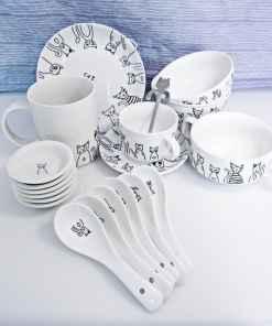 Ceramic Black Cat Plate Cup Bowl Spoon Sets
