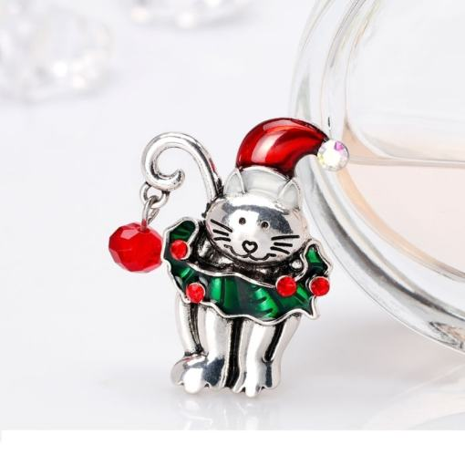 Cute Christmas Kitten Brooch