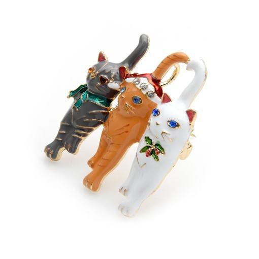 Three Cats Christmas Enamel Brooch