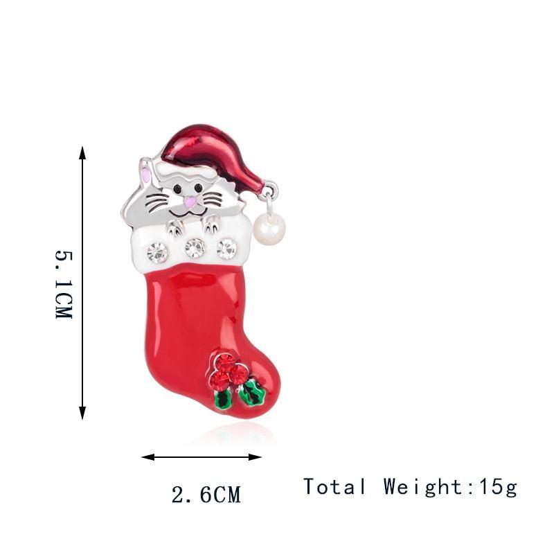 Christmas Kitty Brooch Pin