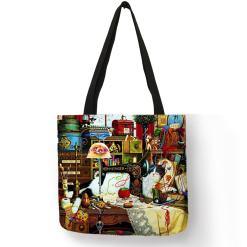 Cat Design Linen Tote Bags