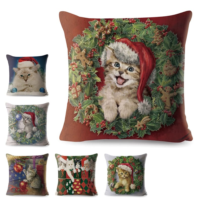 Christmas Cat Series Cushion Covers