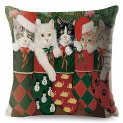 Christmas Cat Series Cushion Covers at The Great Cat Store