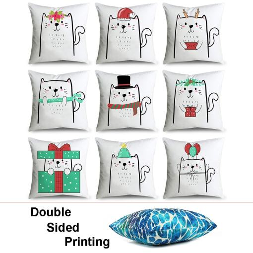 Cute Christmas Cat Throw Pillow Cases at The Great Cat Store