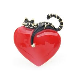Valentine's Day Cat Brooch