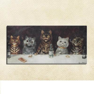 Louis Wain: The Bachelor Party Unframed Cat Art Canvas