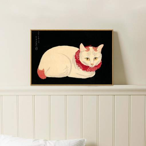 White Cat with Red Collar Canvas Poster