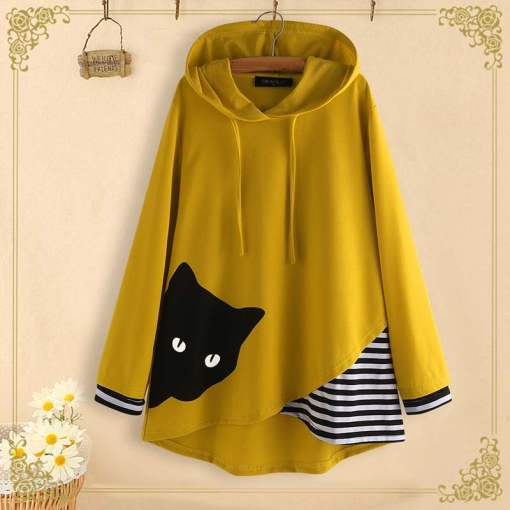 Plus Size Peeping Tom Cat Hooded Sweatshirt