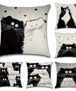 Cute Black Cat Linen Pillow Covers