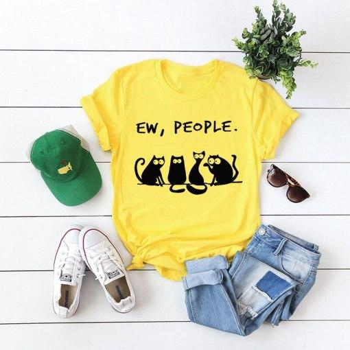 EW People Cute Black Cat T- Shirt