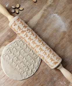 Cat Design Solid Wood Rolling Pin