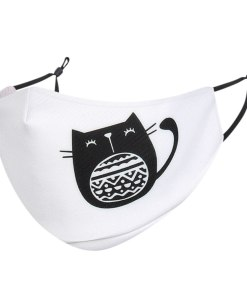 Cute Black Cat Cartoon Themed Face Mask