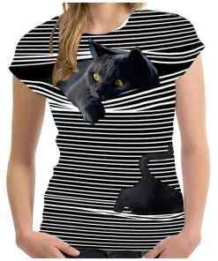 3D Peeping Black Cat T-Shirt