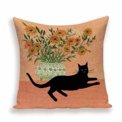 Black Cat and Flowers Throw Cushion Cover
