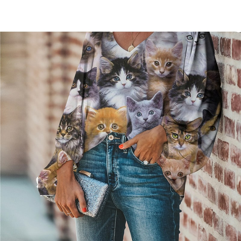 Plus Size Cat Pattern Blouse