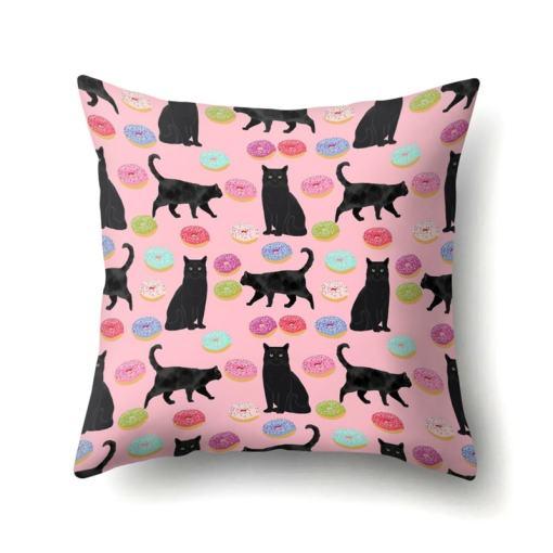 black cat cushion cover