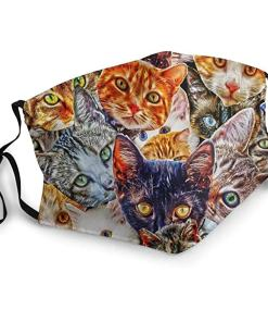 Cute Printed Multi Cat Themed Face Mask