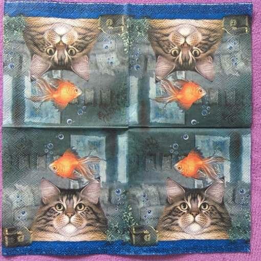Cute Cat Fish Paper Napkins