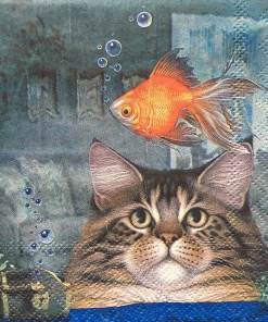 Cute Cat Fish Paper Napkins