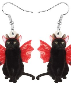 Acrylic Halloween Winged Bat Cat Earrings