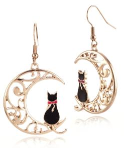 Cat Moon Drop Earrings
