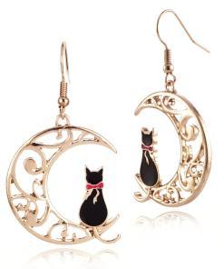 Cat Moon Drop Earrings