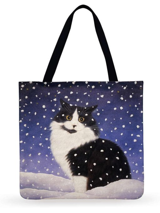 Cute Christmas Cat Linen Tote Bags