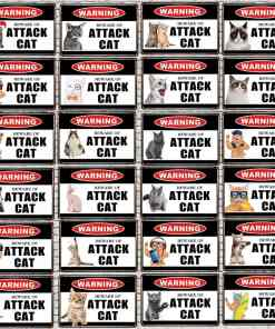 Warning Beware Of Attack Cat Signs