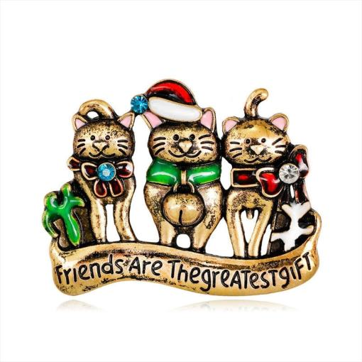Festive Three Cat Christmas Brooch Pin