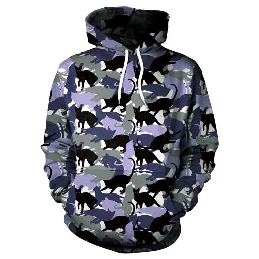 Men's Cat Themed Camouflage Hoodie
