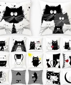 Various Black Cat Designed Cushion Pillow Covers