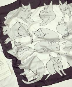 Literary Cat Silk Scarf