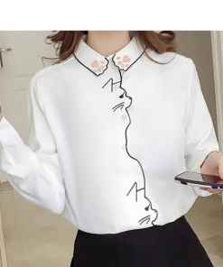 Cat Silhouette Long Sleeve Embroidered Blouse