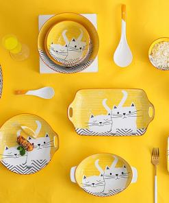 Japanese Style Cat Plates, Bowls, Dishes