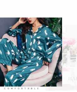 Satin Silk Cat Themed Pajamas