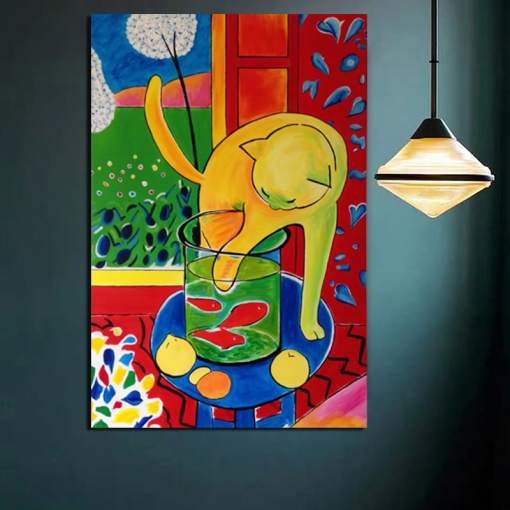 Matisse Cat with Red Fish Canvas Art Print